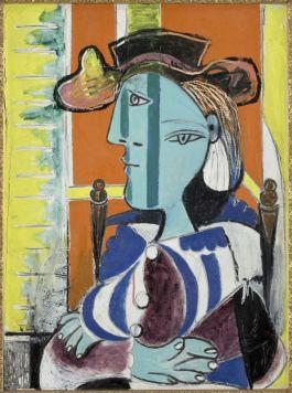 Pablo Picasso, Femme assise aux bras croisés, [Le Tremblay-sur-Mauldre], 1937, huile sur toile, 81 x 60 cm, Musée national Picasso-Paris, MP162, dation en 1979, Photo © RMN-Grand Palais (Musée national Picasso-Paris) / Mathieu Rabeau, service presse / musée Fabre © Succession Picasso 2018