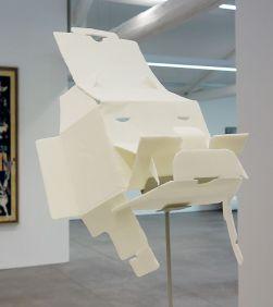 Judith Hopf, Trying to build a mask out of a digital camera package 1, 2012 - La complainte du progrès au MRAC - Vue de l'exposition