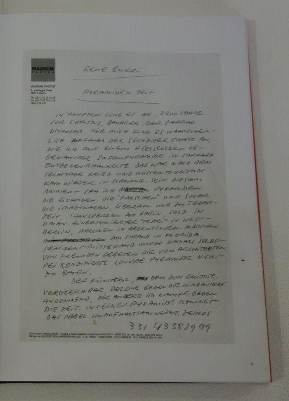 René Burri, Note manuscrite, vers 1990 - Les pyramides imaginaires aux Renconres Arles 2018