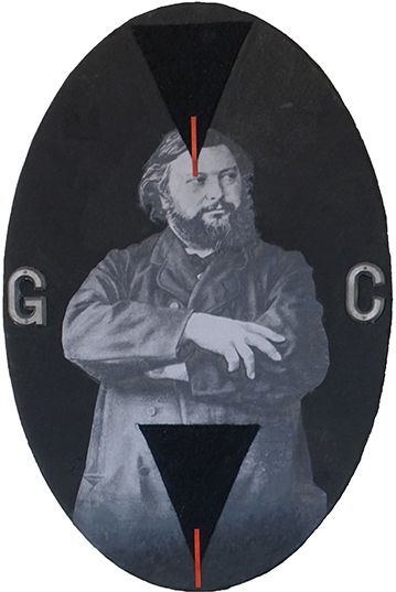 Quim Domene, Portrait de Gustave Courbet I, 2018 - Technique mixte sur toile. 30x30cm