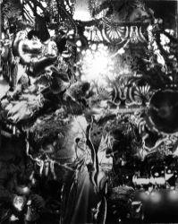 Tudi Deligne, 8.4 (Black flesh atrium drifting by foreign suns), 2017, crayon noir sur papier, 80 x 100 cm