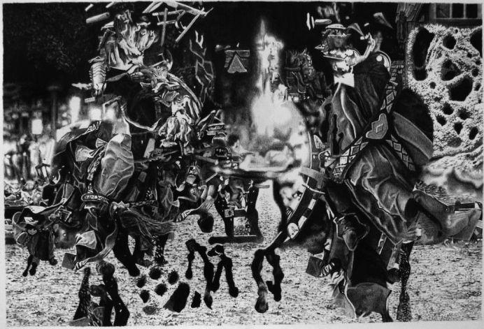 Tudi Deligne, Sans titre 9.1, 2018, crayon de couleur noir sur papier, 24 x 36 cm
