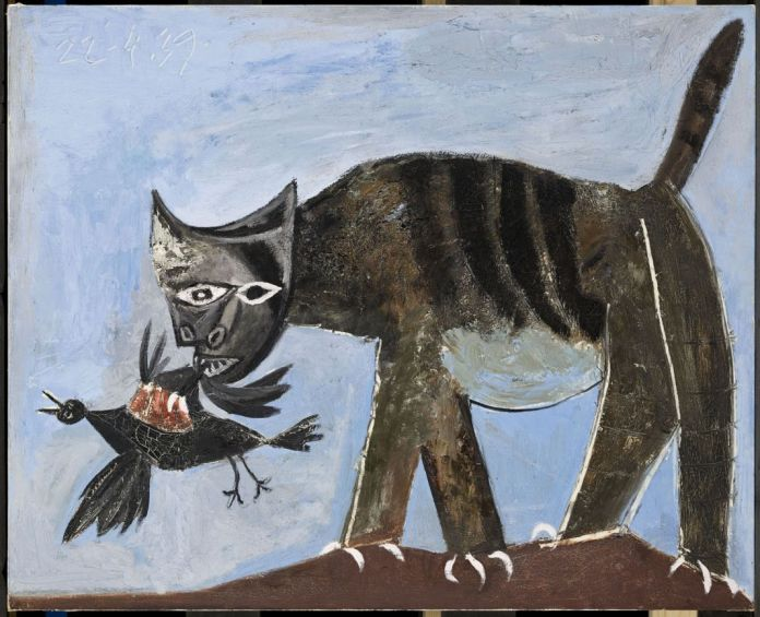 Pablo Picasso - Chat saisissant un oiseau, 1939, huile sur toile, 81x 100 cm. Musée national Picasso, Paris. Photo © RMN-Grand Palais (Musée national Picasso-Paris)/Mathieu Rabeau. © Succession Picasso 2018.