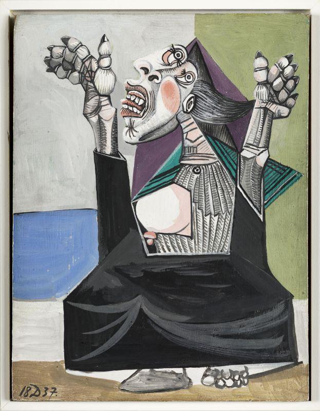 Pablo Picasso - La Suppliante, 1937, gouache sur bois, 24 x 18,5 cm. Musée national Picasso, Paris. Photo © RMN-Grand Palais (Musée national Picasso-Paris)/Mathieu Rabeau. © Succession Picasso 2018.