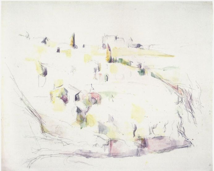 Paul Cézanne Environs d'Aix Vers 1902 Aquarelle et mine de plomb sur papier vélin 48 x 59cm Coll. Fondation Jean et Suzanne Planque (en dépôt au Musée Granet, Aix-en-Provence)