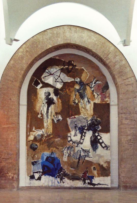 Sans titre, 1997. Réalisé à l'église Saint-Pierre, Musée du Cloître, Tulle, lors de l'exposition « Kacimi, peintures », du 10 juin au 14 août 1997. Technique mixte sur toile. 550 × 350 cm. Atelier de l'artiste © Atelier de l'artiste