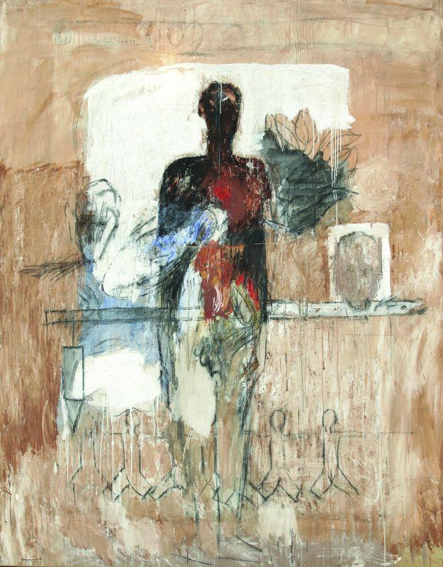 Sans titre, série « Le Temps des conteurs ». Technique mixte sur toile. 280 × 217 cm. Atelier de l'artiste © Atelier de l'artiste