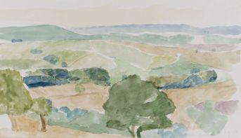 Collines dans le Rouergue (Développement de la perception du même paysage pendant deux jours) 26 août 1975, aquarelle sur papier 32,5 x 50 cm