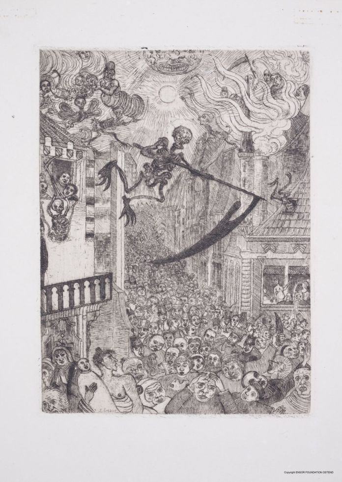 James Ensor-La Mort poursuivant le troupeau des humains (ou Le Triomphe de la Mort), 1895