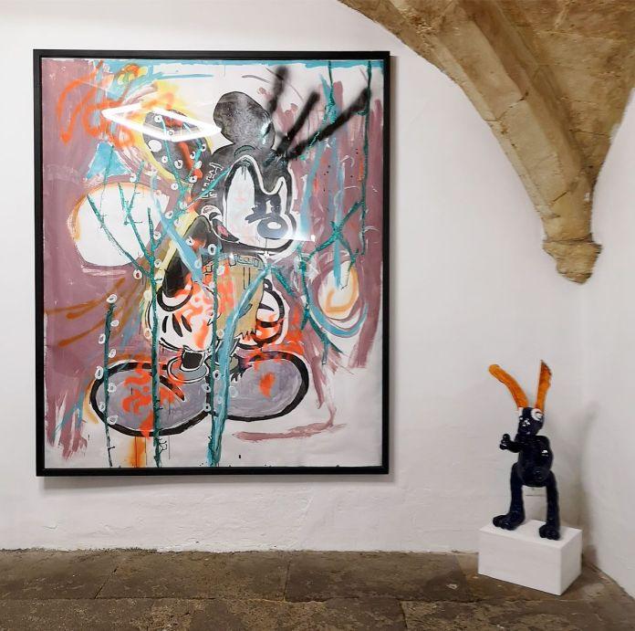 Denis Brun -Sick of it all (Black Bad B heavier) et Mark the Shark in a Forbidden colour - Nowhere à la Numéro 5 Galerie - Montpellier