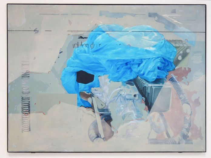 Adrien Menu - 'blu:'gǝst/l'oeil mort, 2017, huile sur toile, 130 x 175 cm. Sud magnétique - Vidéochroniques