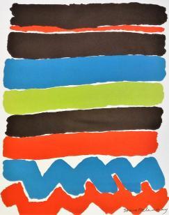 « Tapisseries de Sonia Delaunay » (détail) Affiche d'exposition, New-York Cultural Center, avril- mai 1973. Jacques Damase éditeur, impression en lithographie par Art Litho, Paris. Le motif de cette affiche reprend un projet de tissu imprimé daté de 1928