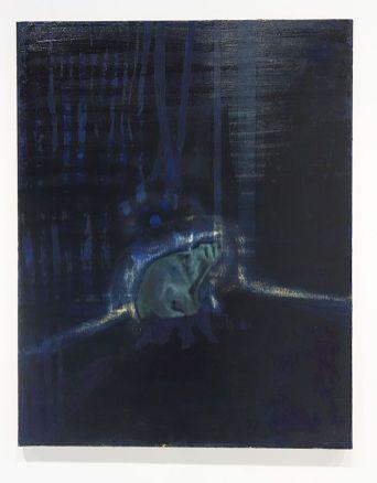 Caroline Vicquenault - Sans titre, 2019, huile sur toile, 146 x 114 cm. Sud magnétique - Vidéochroniques. Photo En revenant de l'expo !