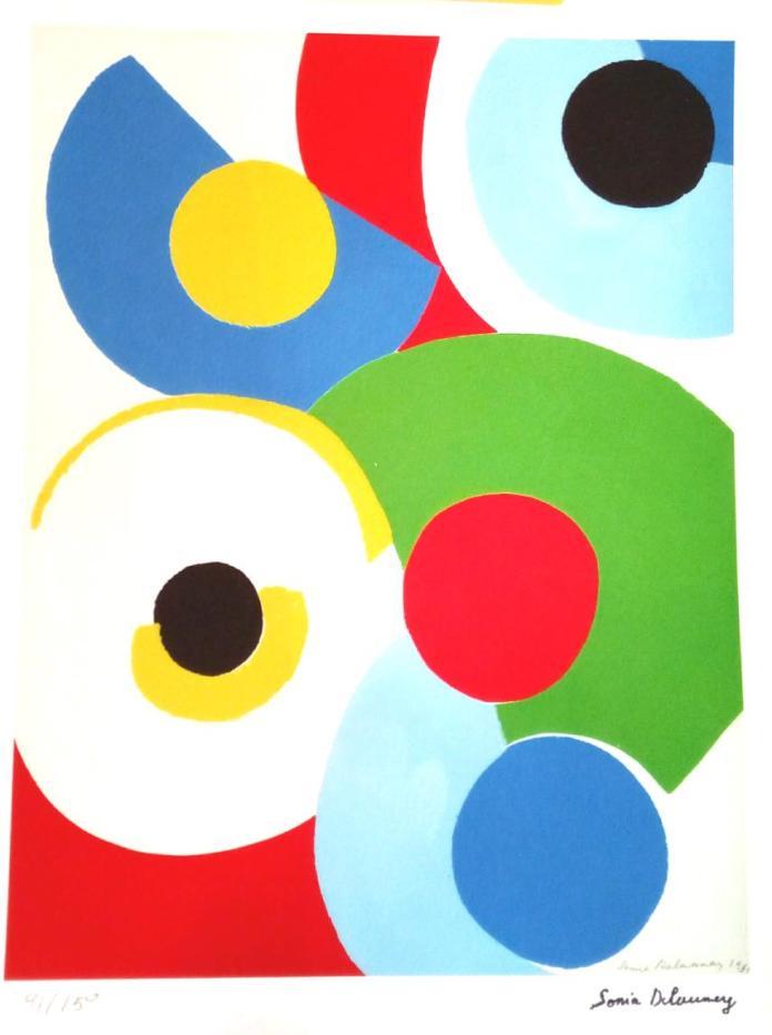 « Disques de couleurs », lithographie d'après Sonia Delaunay. Lithographie signée dans la planche et numérotée (N°91/150), éditions C & S, Luxembourg, vers 1975. Format hors cadre : 33 x 23 cm.