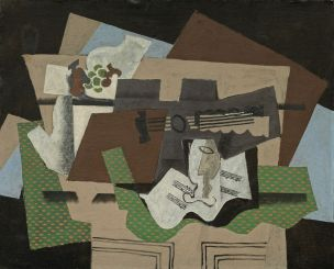 Georges Braque (1882-1963), Guitare, verre et compotier sur un buffet, début de 1919, huile et tempera (?), sable et fusain avec graphite sur toile, 80,8 x 99,5 cm Solomon R. Guggenheim Museum, New York, Thannhauser Collection, don Justin K. Thannhauser Foundation, par échange, 81.2821 © Adagp, Paris, 2019