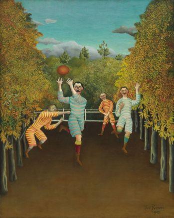 Henri Rousseau (1844-1910), Les Joueurs de football, 1908, huile sur toile, 100,3 x 80,3 cm Solomon R. Guggenheim Museum, New York, 60.1583 Anciennement collection Justin K. Thannhauser