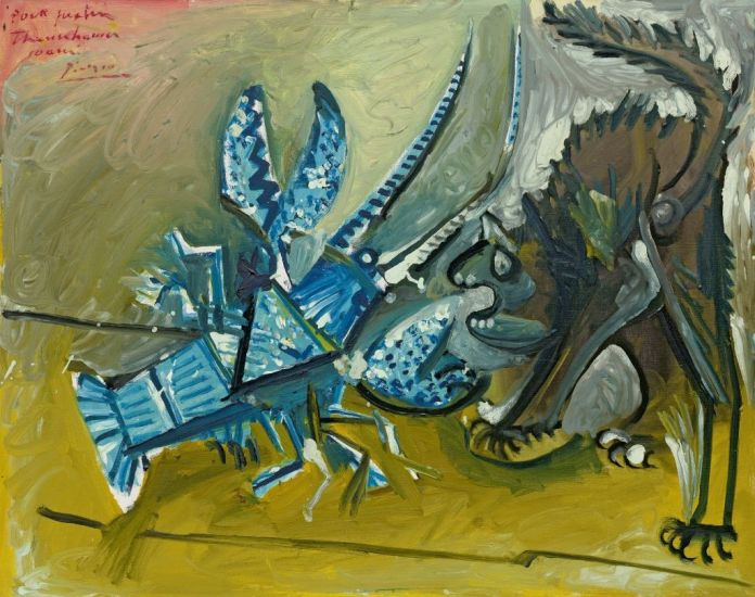 Pablo Picasso (1881-1973), Le Homard et le chat, Mougins, 11 janvier 1965, huile et peinture laque (?) sur toile, 73 x 92,1 cm Solomon R. Guggenheim Museum, New York, Thannhauser Collection, legs Hilde Thannhauser, 91.3916 © Succession Picasso 2019
