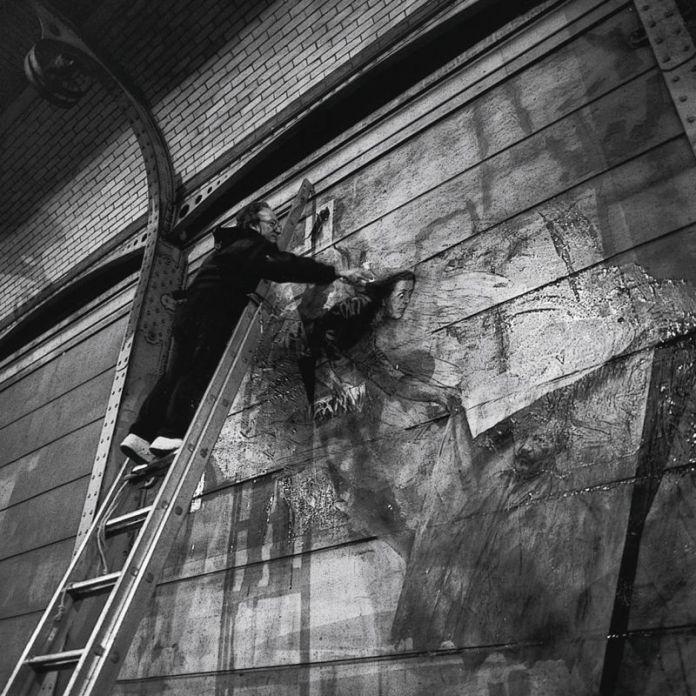 Ernest Pignon-Ernest en action © Ernest Pignon-Ernest