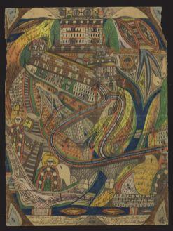 Adolf Wölfli, sans titre (Le Grand Chemin de fer du ravin de la colère), 1911, crayon de couleur et mine de plomb sur papier, 50 × 37,5cm. Collection de l'Art Brut, Lausanne © Olivier Laffely, Atelier de numérisation – Ville de Lausanne.