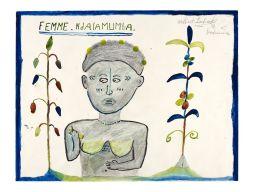 Albert Lubaki, Femme Ndalamumba, 1939, aquarelle et pastels sur papier, 49 × 64cm. Musée d'Ethnographie de Genève © MEG, Johnathan Watts