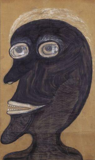 Heinrich Anton Müller, sans titre (Homme à la goutte au nez), entre 1917 et 1922, peinture et craie sur papier d'emballage teinté, 75 × 45cm. Collection de l'Art Brut, Lausanne © Claude Bornand.