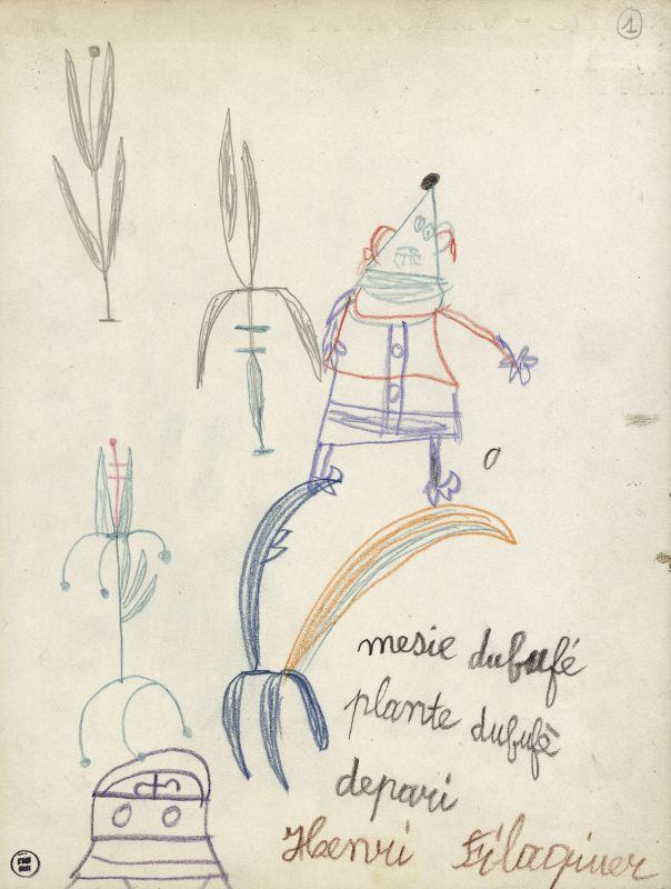 nri Filaquier, Mesie dubufé, entre 1944 et 1949, crayon de couleur sur papier, 32 × 24,2cm. Collection de l'Art Brut, Lausanne © Olivier Laffely, Atelier de numérisation – Ville de Lausanne.