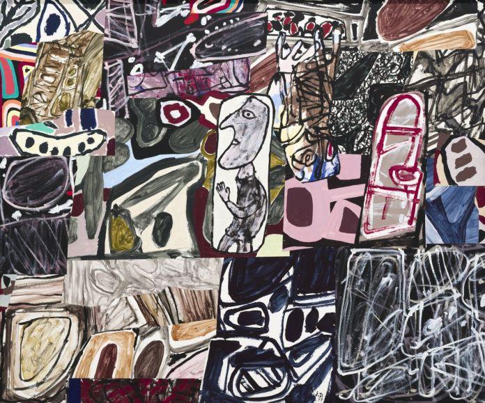 Jean Dubuffet, Le Déchiffreur, 26 septembre 1977, collage de 28 pièces d'acrylique sur papier marouflé sur toile, 178 × 214cm. Musée d'art moderne et contemporain de Saint-Étienne-Métropole. Photo © Cyrille Cauvet/Musée d'art moderne et contemporain de Saint-Étienne Métropole © Adagp, Paris2019