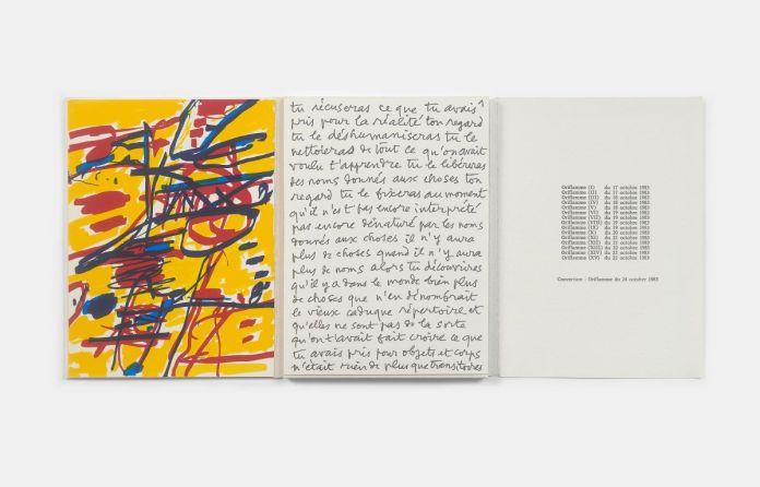 Jean Dubuffet, Oriflammes, Marseille, éd. Ryôan-ji, 1984, livre de quatre pages de texte manuscrit accompagné de 15 sérigraphies. Collection Dr Bâton © Yves Inchierman © Adagp, Paris 2019.