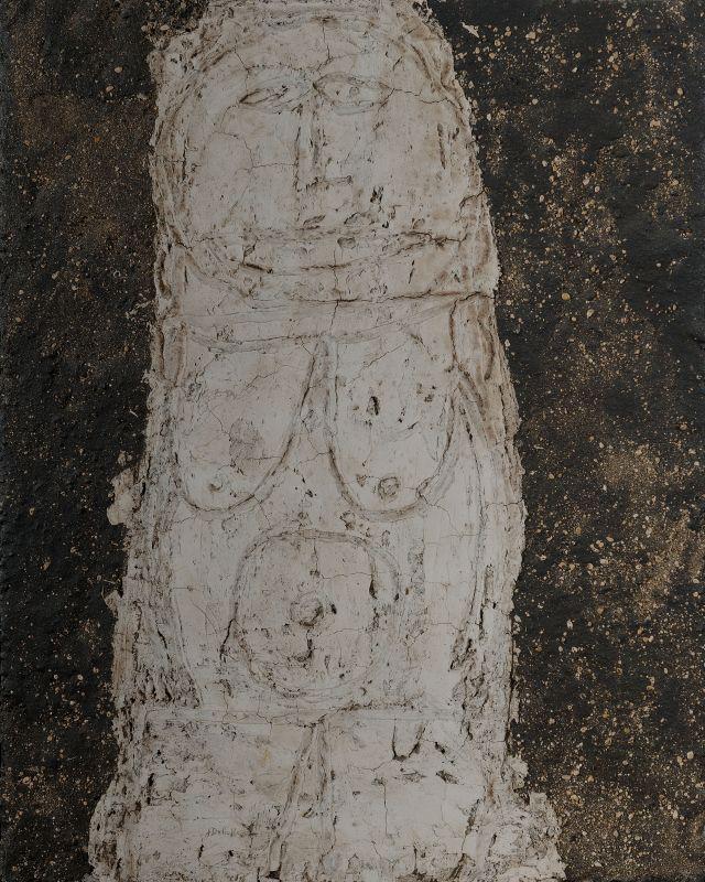 Jean Dubuffet, Vénus du trottoir (Kamenaia Baba), mai-juin 1946, peinture à l'huile sur plaque de staff, 100 × 82cm. Musée Cantini, Marseille © Ville de Marseille, Dist. RMN-Grand Palais/Claude Almodovar/Michel Vialle © Adagp, Paris2019