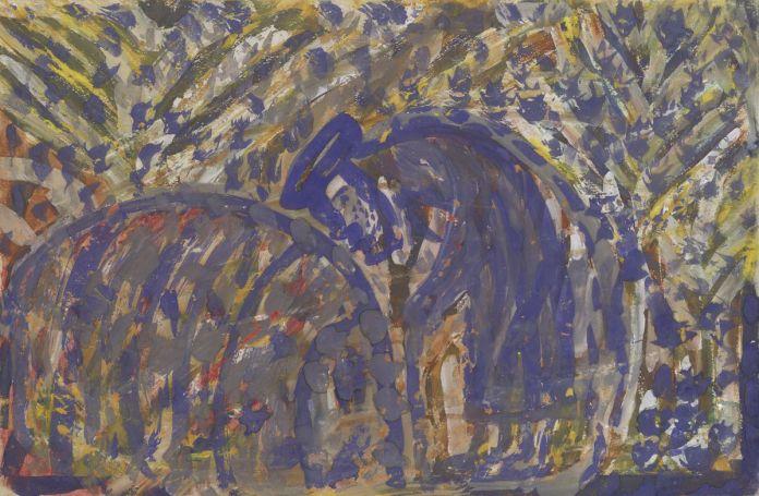 Quadour Douida, sans titre (Le Jardinier), El-Goléa, Algérie, 1948, peinture sur papier, 27,5 × 41cm. Collection de l'Art Brut, Lausanne © Caroline Smyrliadis, Atelier de numérisation – Ville de Lausanne.