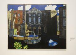 Vincent Bioulès - La place d'Aix, noire, Hommage à Auguste Chabaud, 1977 - Chemins de traverse - La série des places, la ville comme un décors d'opéra au Musée Fabre 401