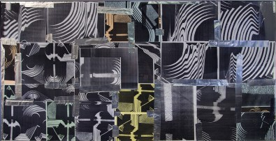 Basile Ghosn World of echo, 2019 Photocopies, scotch aluminium, plexiglas, cadre aluminium, 100 x 200 cm © photo Aurélien Meimaris