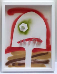 Rodolphe Huguet - MinHerói, (Portrait de mineur), 2012-2013 - Dessin à la bombe aérosol, papier aquarelle, collage de pierres précieuses lapidées, aigue-marine, quartz rose. 50 x 38 cm