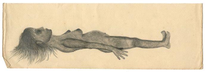 Geoffrey Badel Gisante Crayon sur vieux papier 8,5 x 25 cm, 2018