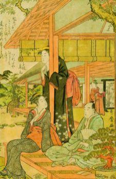 Kitagawa Utamaro (1753 - 1806), Amusement d'un soir d'été dans le jardin (triptyque), 1788-1790 Chaque feuille : Nishiki-e, 35,7 x 25,3 cm Collection Georges Leskowicz, Photo : © Fundacja Jerzego Leskowicza