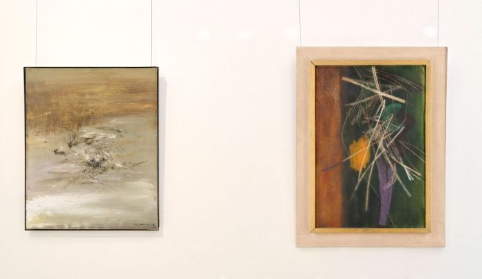 Zao Wou-Ki,29.03.65 et Hans Hartung, Composition, 1945 - Soulages à Montpellier au Musée Fabre - Couloir au deuxième étage