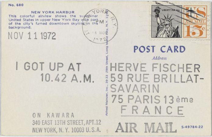 On Kawara, I Got Up, 1972