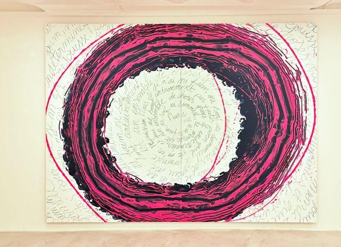 Dominique Figarella - Il faut tourner 7 fois les discours dans son organisme, 2018 acrylique sur alucore, 220 x 300 cm (diptyque)