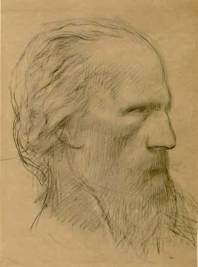 Pierre Puvis de Chavannes, Profil d'homme barbu, tourné vers la droite, XIXe siècle
