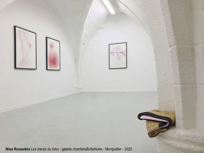 Nina Roussière - Les traces du futur - Vue de l'exposition à la galerie chantiersBoîteNoire