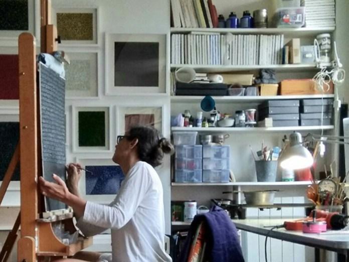 Pascale Hugonet dans son atelier - Photo (c)Pascale Hugonet