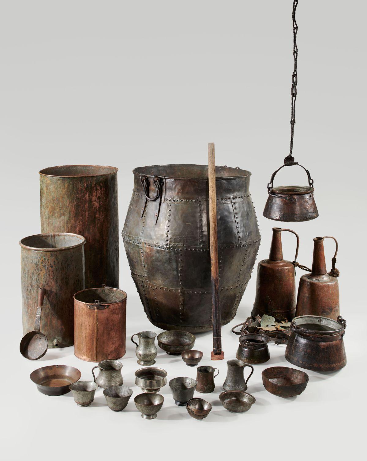 Matériel rituel pour la fabrication et la consommation de la bière. Gveletie, Géorgie, vers 1900-1930 © MucemMarianne Kuhn