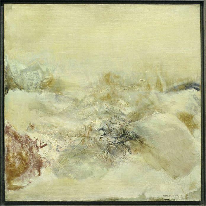Zao Wou-Ki - 17.12.75 - Hommage à Turner, 1975, Huile sur toile, 55 x 55 cm, Collection particulière, © Adagp, Paris, 2021, photo: droits réservés