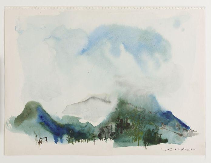 Zao Wou-Ki - Feuille du carnet peint à Saint-Jeoire-en-Faucigny, juillet-août 1950, Aquarelle sur papier, 23,5 x 31,3 cm, Collection particulière, ©Adagp, Paris, 2021,Naomi Wenger