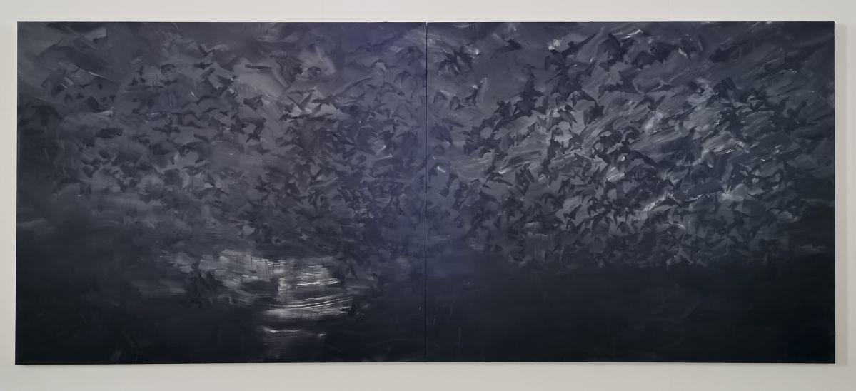 Yan Pei-Ming - Exode, 2020. Huile sur toile, Panneau 2
