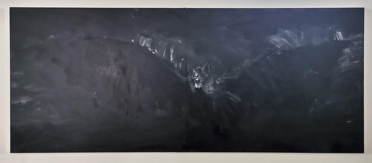 Yan Pei-Ming - Exode, 2020. Huile sur toile, Panneau 4