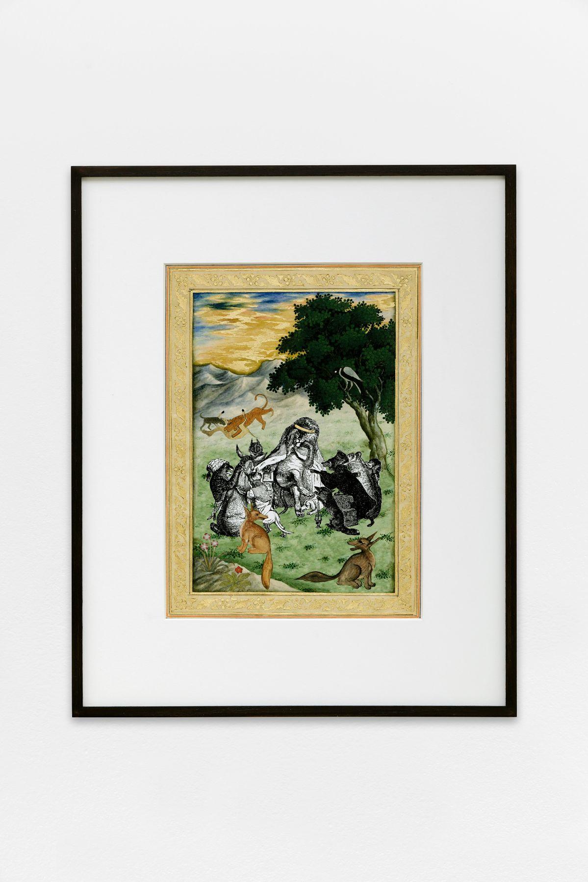 Katia Kameli, Les Animaux malades de la Peste ; La Tortue et les deux canards, 2016, impression fine art et dorure à l'or 22 carat sur papier Bamboo