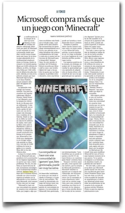 Microsoft compra mas que un videojuego con Minecraft - Cinco Dias (pdf, haz click para leer completo)