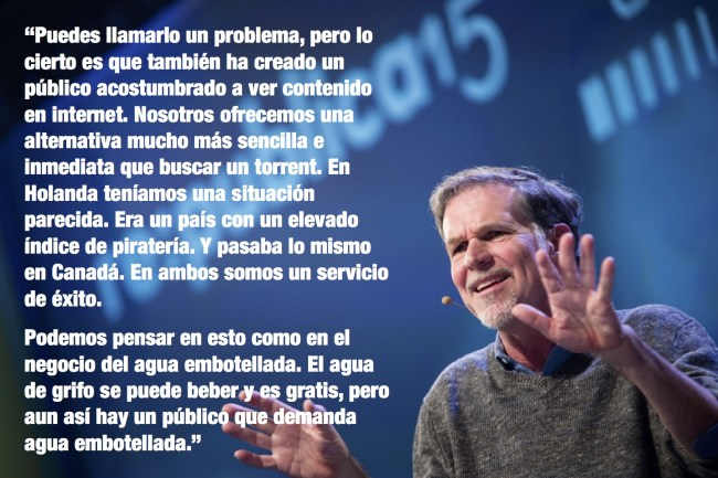 Reed Hastings on piracy (IMAGE: Gregor Fischer, TEXT: El Mundo)