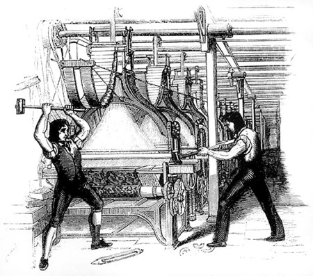 Frame-breakers, or Luddites, smashing a loom (Source: Wikipedia)
